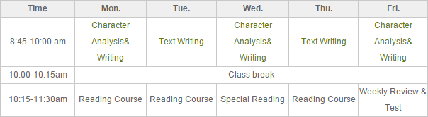 Chinese Characters Crash Program-Morning Course Timetable Sample