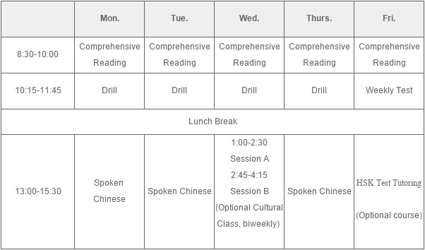 Intensive Chinese Training Program-Timetable sample