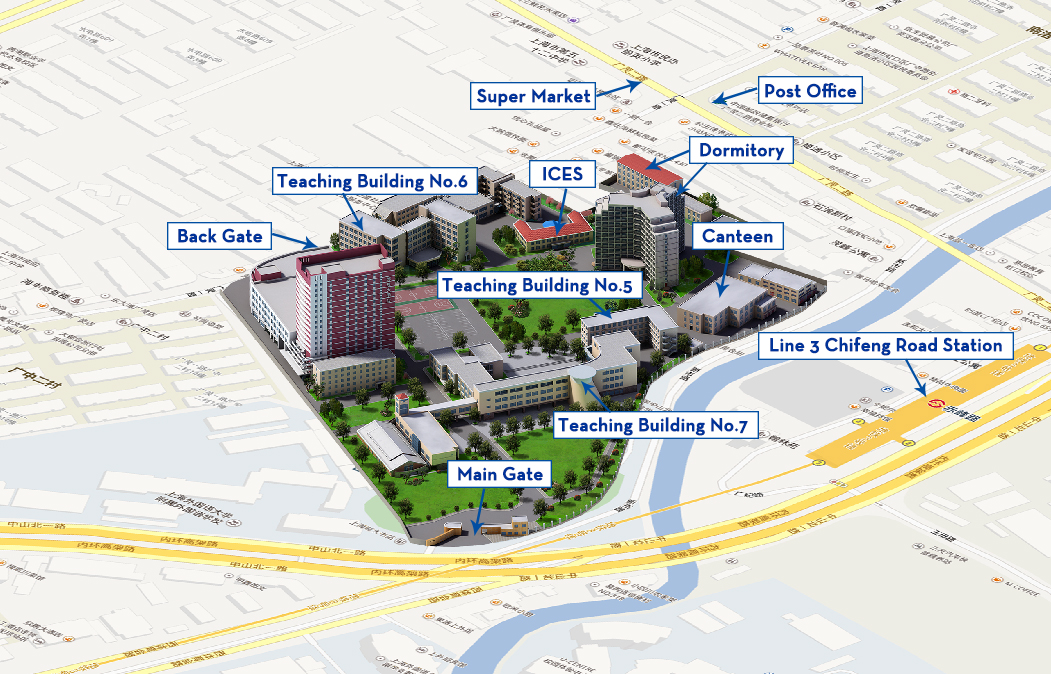 Map of Zhongshan Beiyi Road Campus