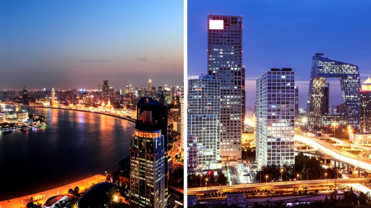 Shanghai and Beijing cities at night