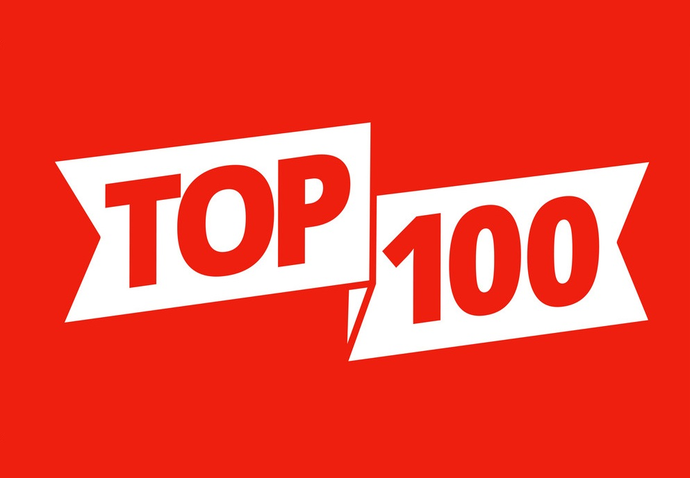 Top 100. Best ten list. Red word on ribbon. Winner tape award text title. Vector color Illustration headline clipart on a red background.