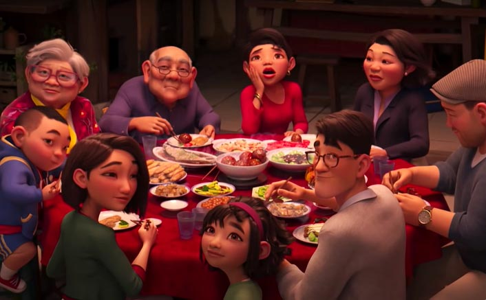 """A still from the 2020 film """"Over the Moon"""" shows a family celebrating Mid Autumn Festival together."""